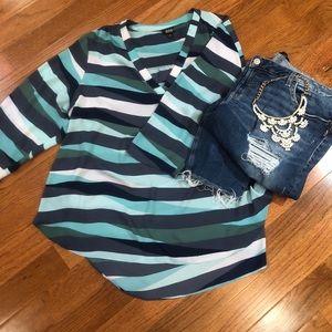 A.N.A 3/4 Sleeve Striped Blouse
